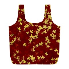 Background Design Leaves Pattern Full Print Recycle Bags (L)