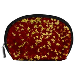 Background Design Leaves Pattern Accessory Pouches (Large)
