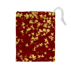 Background Design Leaves Pattern Drawstring Pouches (Large)