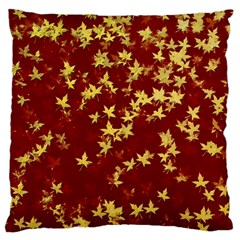 Background Design Leaves Pattern Large Flano Cushion Case (One Side)