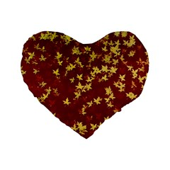 Background Design Leaves Pattern Standard 16  Premium Flano Heart Shape Cushions
