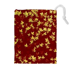Background Design Leaves Pattern Drawstring Pouches (Extra Large)