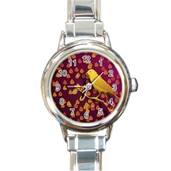 Bird Design Wall Golden Color Round Italian Charm Watch