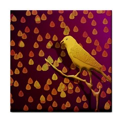 Bird Design Wall Golden Color Tile Coasters