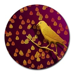 Bird Design Wall Golden Color Round Mousepads