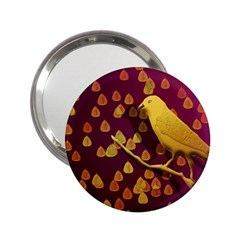 Bird Design Wall Golden Color 2 25  Handbag Mirrors