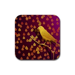 Bird Design Wall Golden Color Rubber Square Coaster (4 pack)