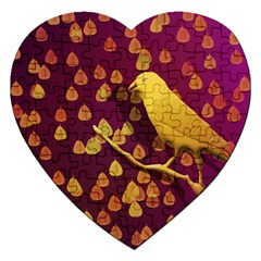 Bird Design Wall Golden Color Jigsaw Puzzle (heart)