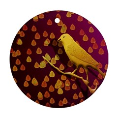Bird Design Wall Golden Color Round Ornament (Two Sides)