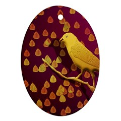 Bird Design Wall Golden Color Oval Ornament (two Sides)