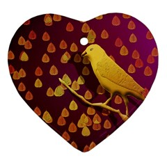Bird Design Wall Golden Color Heart Ornament (two Sides)