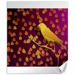 Bird Design Wall Golden Color Canvas 8  x 10
