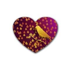 Bird Design Wall Golden Color Rubber Coaster (Heart)