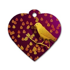 Bird Design Wall Golden Color Dog Tag Heart (two Sides)