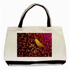 Bird Design Wall Golden Color Basic Tote Bag (Two Sides)