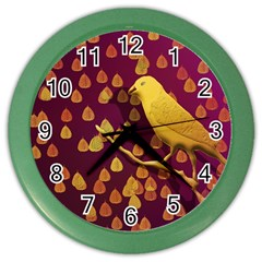 Bird Design Wall Golden Color Color Wall Clocks