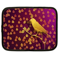 Bird Design Wall Golden Color Netbook Case (large)