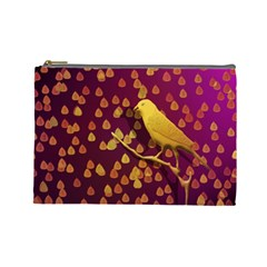 Bird Design Wall Golden Color Cosmetic Bag (Large)