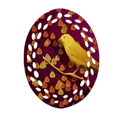 Bird Design Wall Golden Color Oval Filigree Ornament (Two Sides)