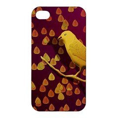 Bird Design Wall Golden Color Apple iPhone 4/4S Hardshell Case