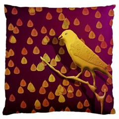 Bird Design Wall Golden Color Large Cushion Case (Two Sides)