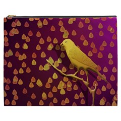 Bird Design Wall Golden Color Cosmetic Bag (XXXL)