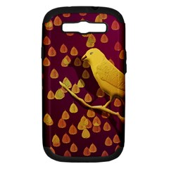 Bird Design Wall Golden Color Samsung Galaxy S III Hardshell Case (PC+Silicone)