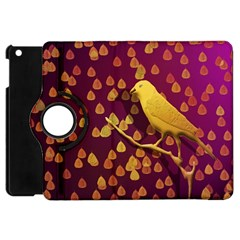 Bird Design Wall Golden Color Apple Ipad Mini Flip 360 Case