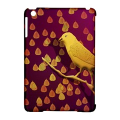 Bird Design Wall Golden Color Apple iPad Mini Hardshell Case (Compatible with Smart Cover)