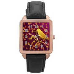 Bird Design Wall Golden Color Rose Gold Leather Watch