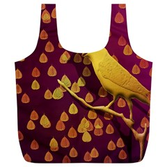 Bird Design Wall Golden Color Full Print Recycle Bags (L)