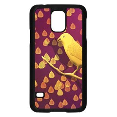 Bird Design Wall Golden Color Samsung Galaxy S5 Case (Black)