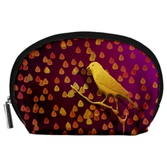 Bird Design Wall Golden Color Accessory Pouches (Large)