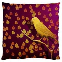 Bird Design Wall Golden Color Large Flano Cushion Case (Two Sides)
