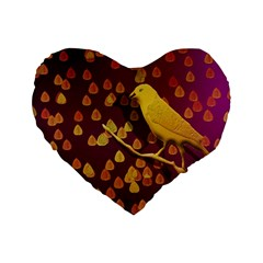 Bird Design Wall Golden Color Standard 16  Premium Flano Heart Shape Cushions