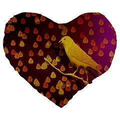 Bird Design Wall Golden Color Large 19  Premium Flano Heart Shape Cushions