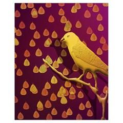Bird Design Wall Golden Color Drawstring Bag (Small)