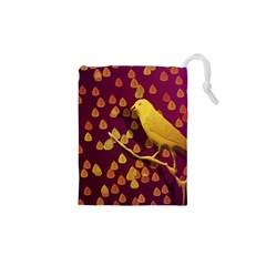 Bird Design Wall Golden Color Drawstring Pouches (xs)