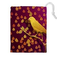 Bird Design Wall Golden Color Drawstring Pouches (XXL)