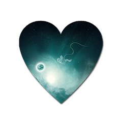 Astronaut Space Travel Gravity Heart Magnet