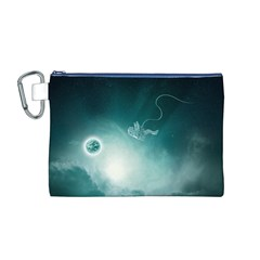 Astronaut Space Travel Gravity Canvas Cosmetic Bag (m)