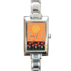 Love Heart Valentine Sun Flowers Rectangle Italian Charm Watch