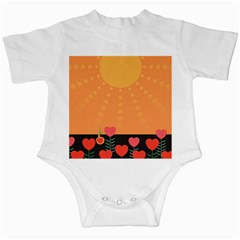 Love Heart Valentine Sun Flowers Infant Creepers