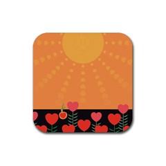 Love Heart Valentine Sun Flowers Rubber Coaster (Square)