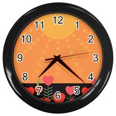 Love Heart Valentine Sun Flowers Wall Clocks (black)