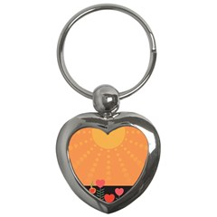 Love Heart Valentine Sun Flowers Key Chains (Heart)