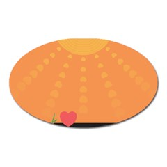 Love Heart Valentine Sun Flowers Oval Magnet