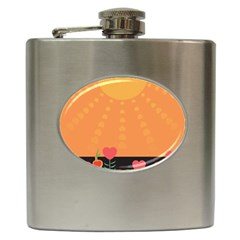 Love Heart Valentine Sun Flowers Hip Flask (6 oz)