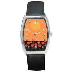 Love Heart Valentine Sun Flowers Barrel Style Metal Watch