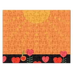 Love Heart Valentine Sun Flowers Rectangular Jigsaw Puzzl